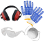 Protection kit: gloves, googles, ear defenders, anti-dust mask for free!